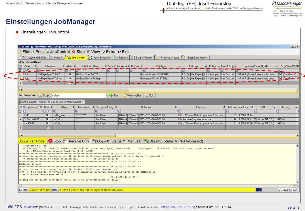 Einstellungen JobManager