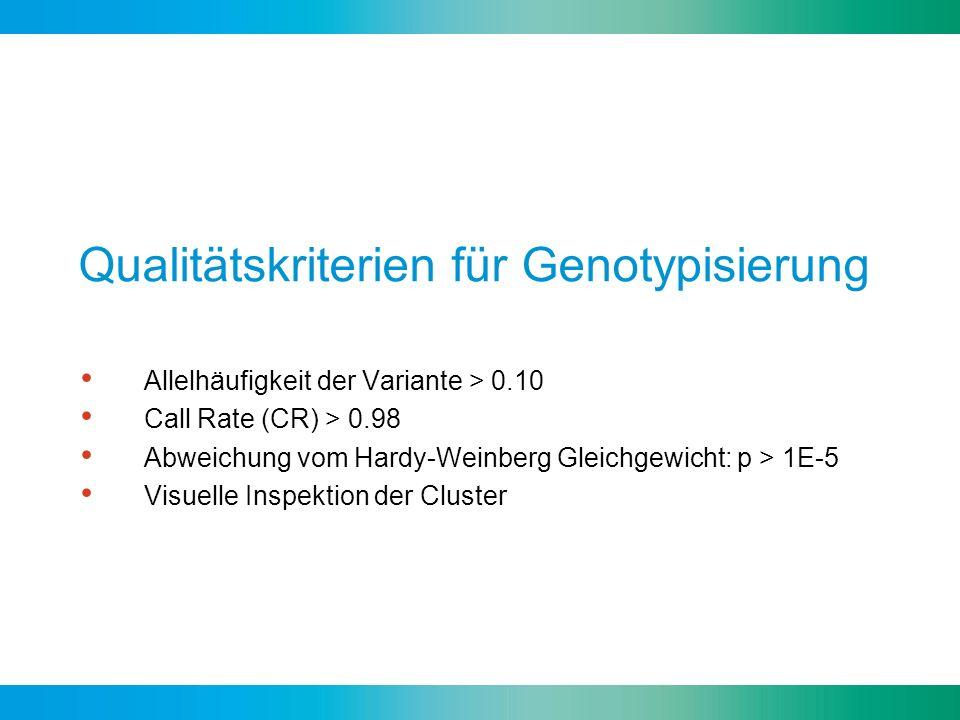 Qualitätskriterien für Genotypisierung