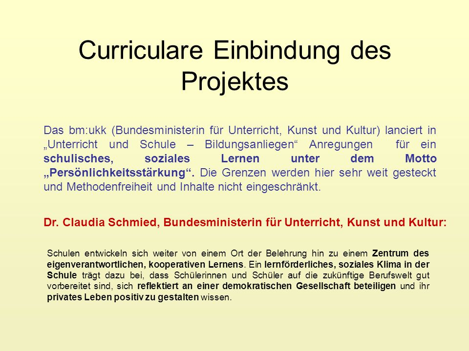 Curriculare Einbindung des Projektes