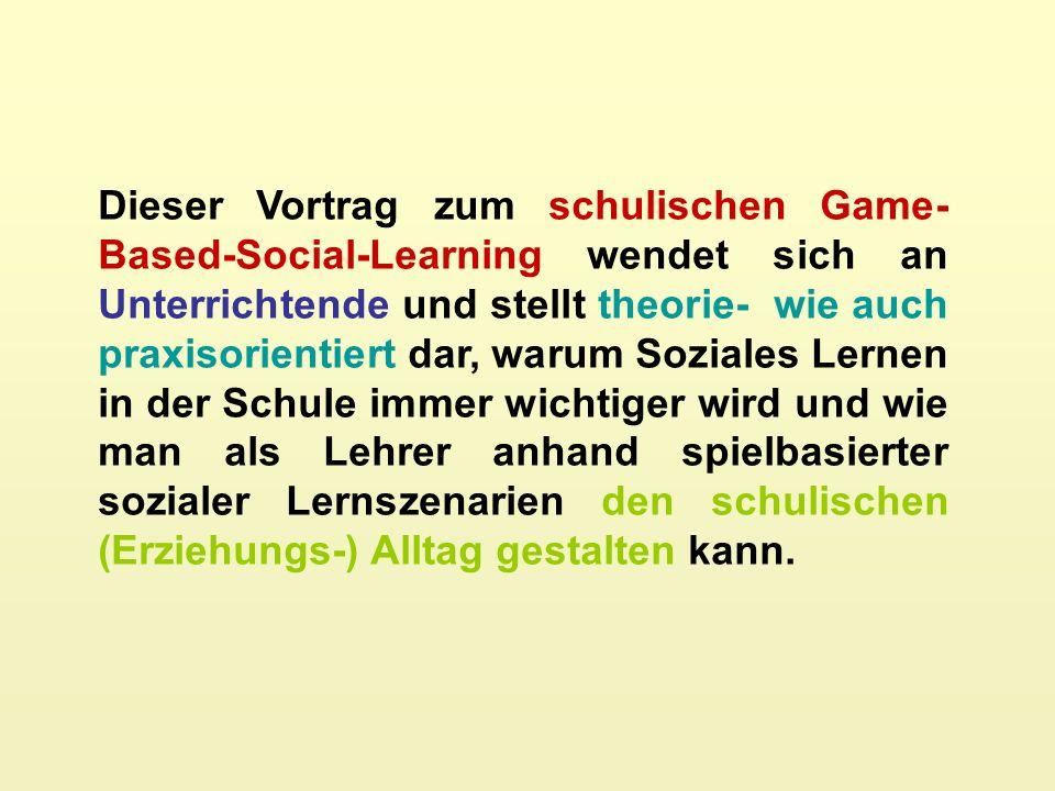 Dieser Vortrag zum schulischen Game-Based-Social-Learning wendet sich an Unterrichtende und stellt theorie- wie auch praxisorientiert dar, warum Soziales Lernen in der Schule immer wichtiger wird und wie man als Lehrer anhand spielbasierter sozialer Lernszenarien den schulischen (Erziehungs-) Alltag gestalten kann.