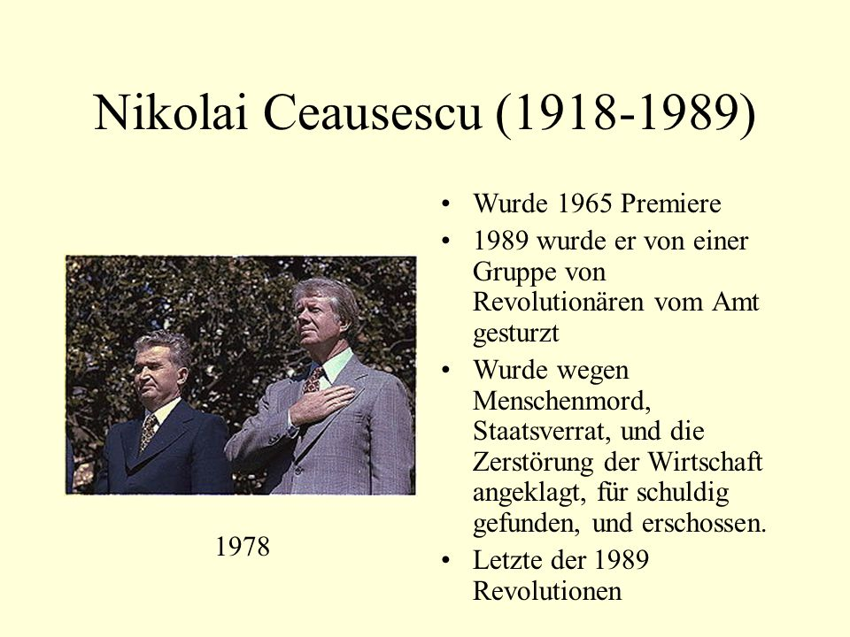 Nikolai Ceausescu (1918-1989) Wurde 1965 Premiere