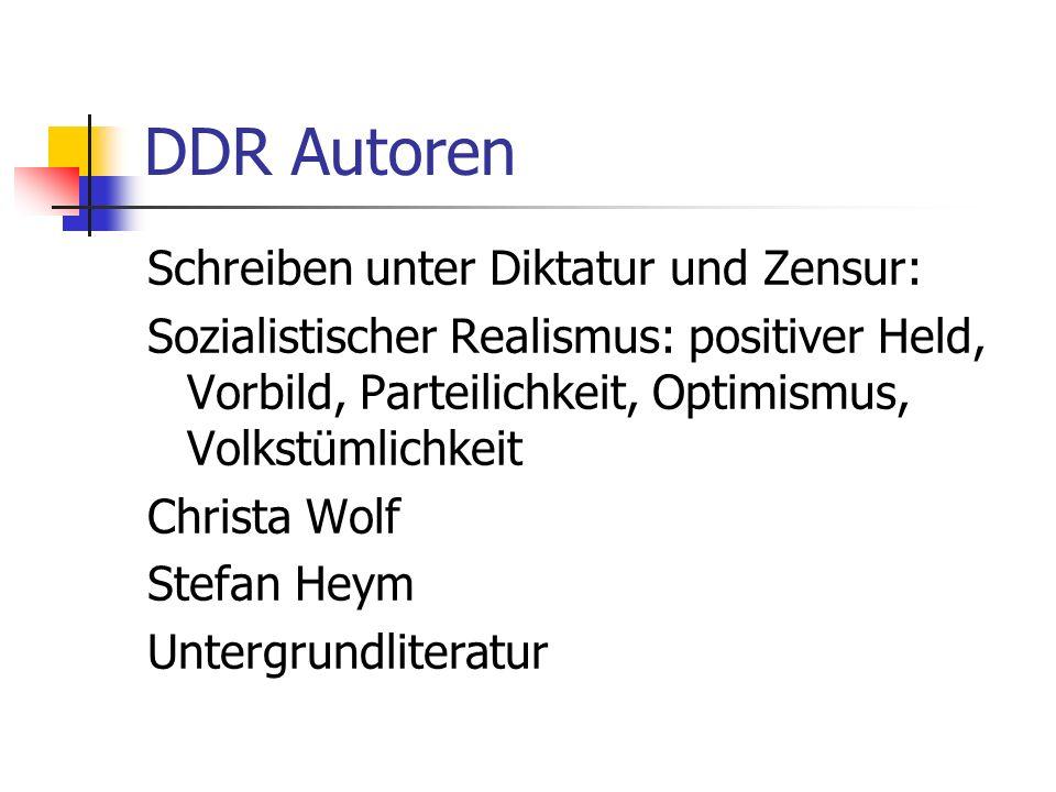 DDR Autoren Schreiben unter Diktatur und Zensur: