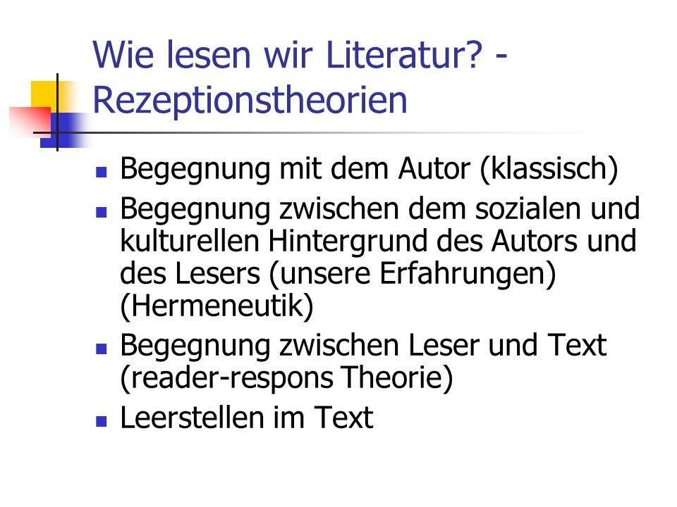 Wie lesen wir Literatur -Rezeptionstheorien