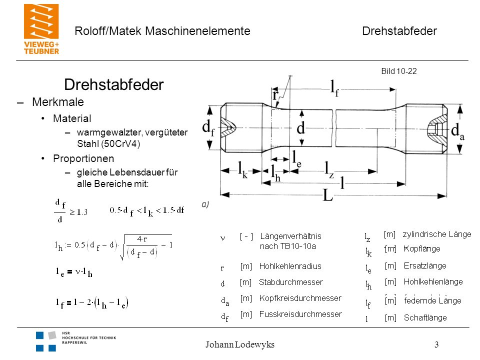 Drehstabfeder Merkmale Material Proportionen