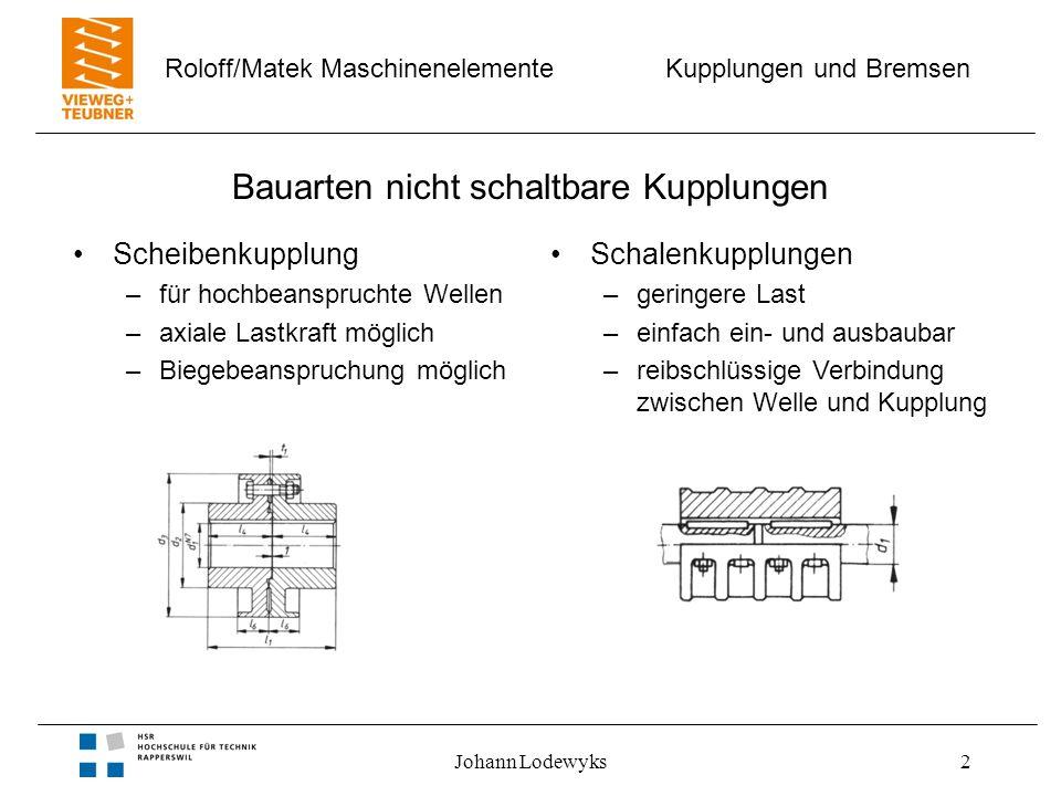 Bauarten nicht schaltbare Kupplungen