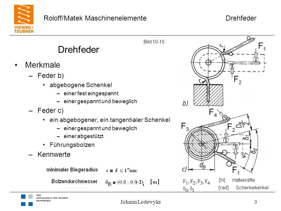 Drehfeder Merkmale Feder b) Feder c) Kennwerte abgebogene Schenkel
