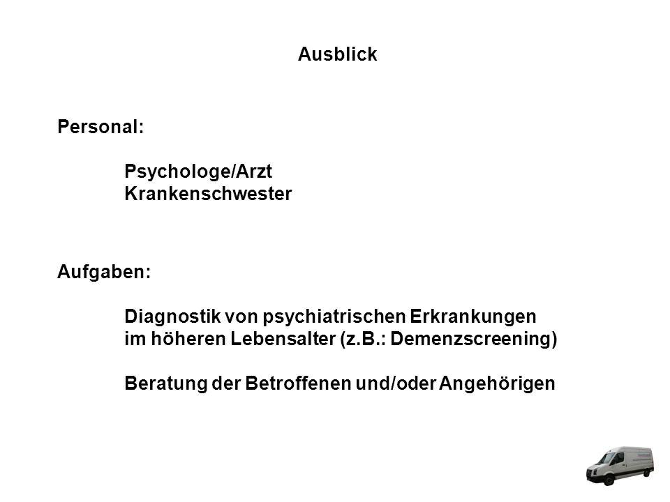 Ausblick Personal: Psychologe/Arzt. Krankenschwester. Aufgaben: Diagnostik von psychiatrischen Erkrankungen.