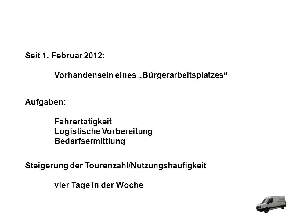 """Seit 1. Februar 2012: Vorhandensein eines """"Bürgerarbeitsplatzes Aufgaben: Fahrertätigkeit. Logistische Vorbereitung."""