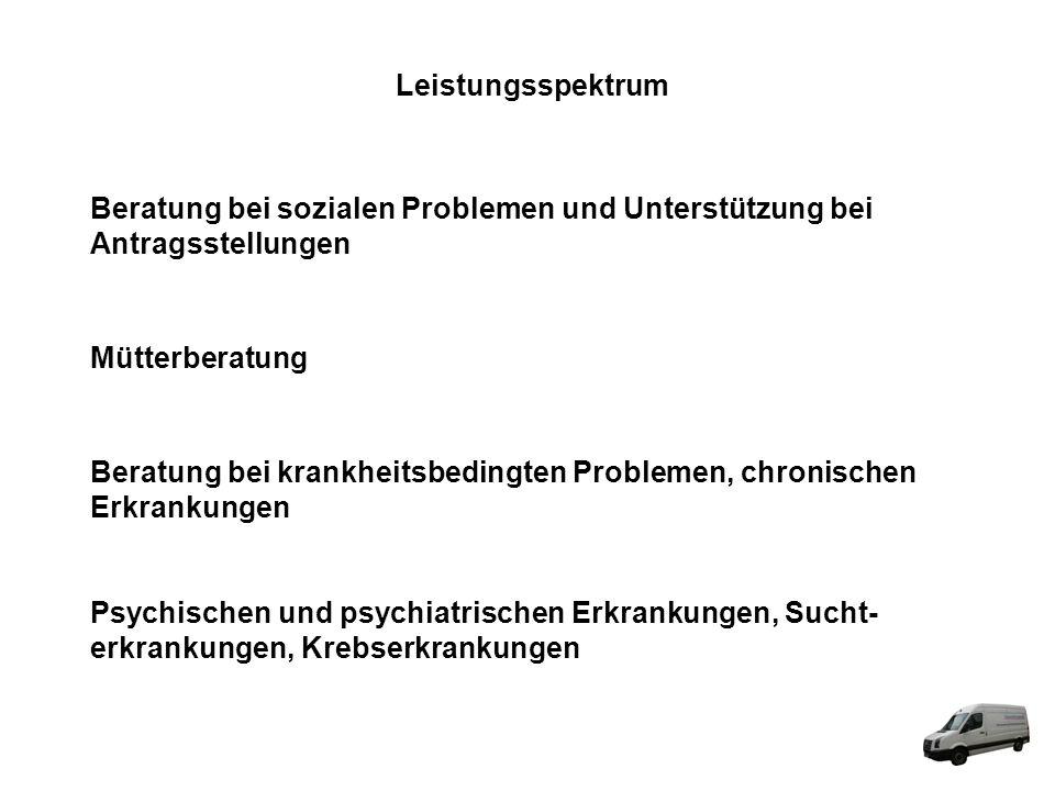 Leistungsspektrum Beratung bei sozialen Problemen und Unterstützung bei. Antragsstellungen. Mütterberatung.