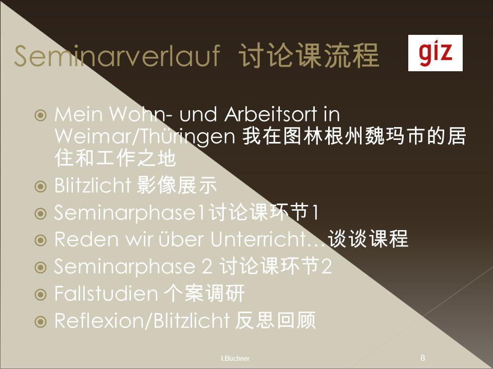 Seminarverlauf 讨论课流程 Mein Wohn- und Arbeitsort in Weimar/Thüringen 我在图林根州魏玛市的居住和工作之地. Blitzlicht 影像展示.