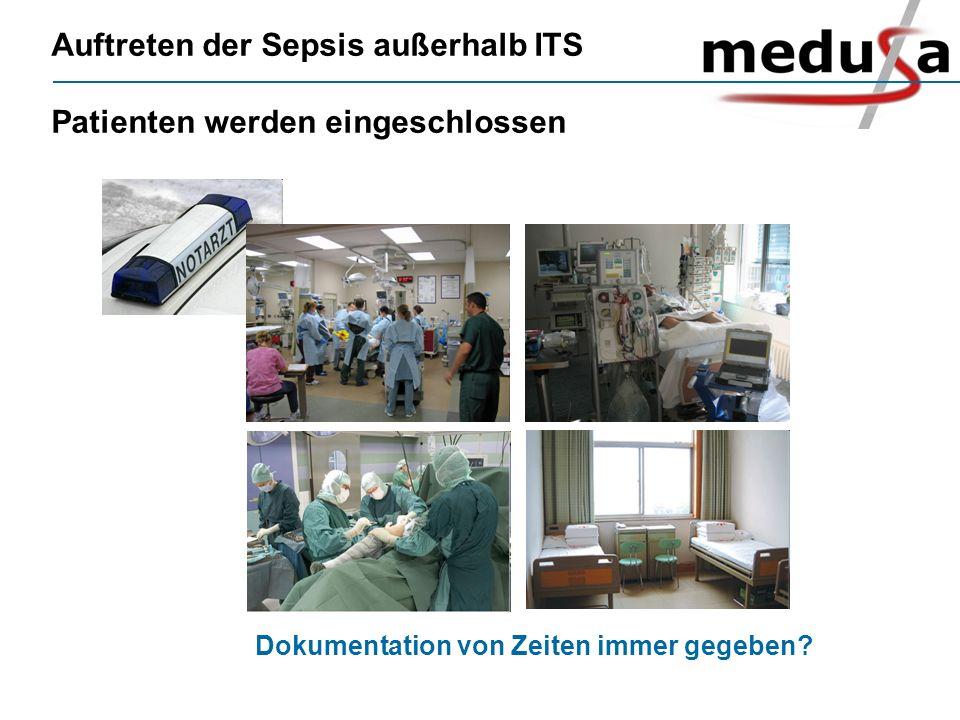 Auftreten der Sepsis außerhalb ITS Patienten werden eingeschlossen