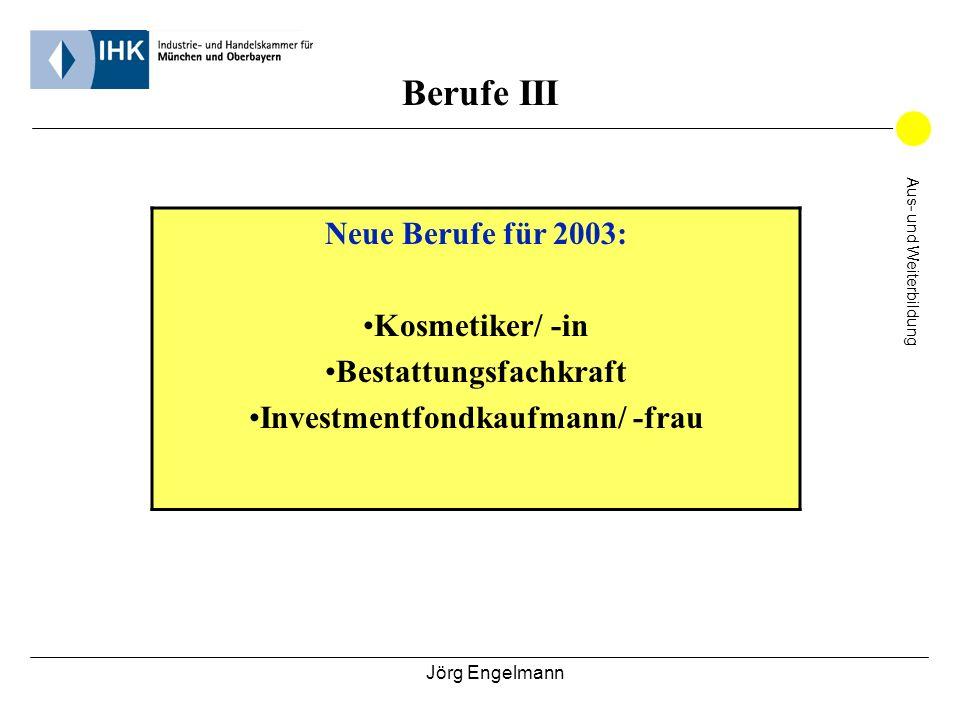 Berufe III Neue Berufe für 2003: Kosmetiker/ -in Bestattungsfachkraft