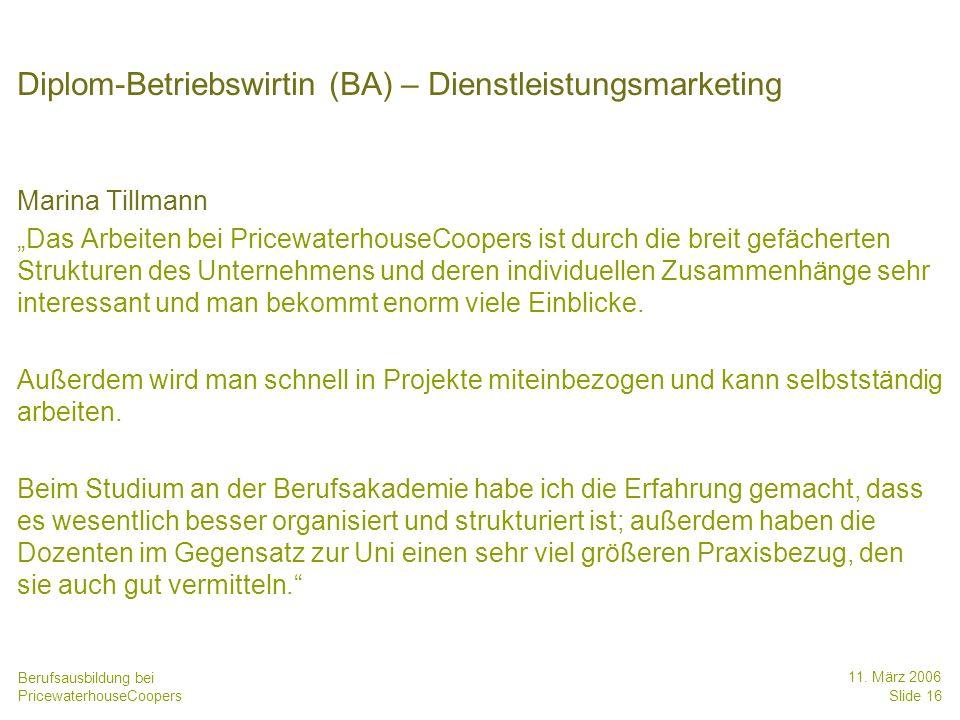 Diplom-Betriebswirtin (BA) – Dienstleistungsmarketing