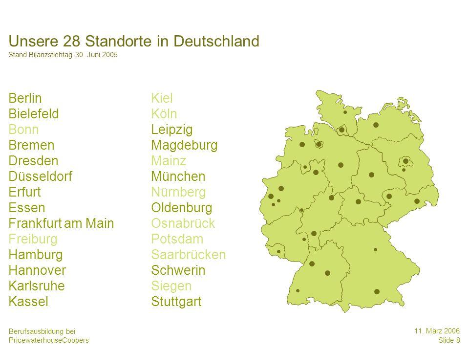 Unsere 28 Standorte in Deutschland Stand Bilanzstichtag 30. Juni 2005