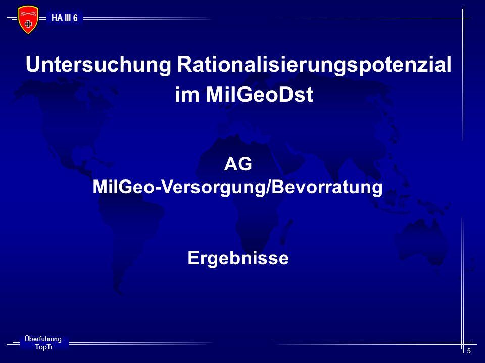 Untersuchung Rationalisierungspotenzial MilGeo-Versorgung/Bevorratung