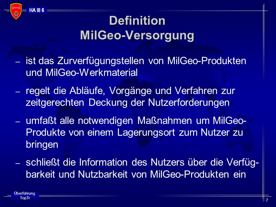 Definition MilGeo-Versorgung