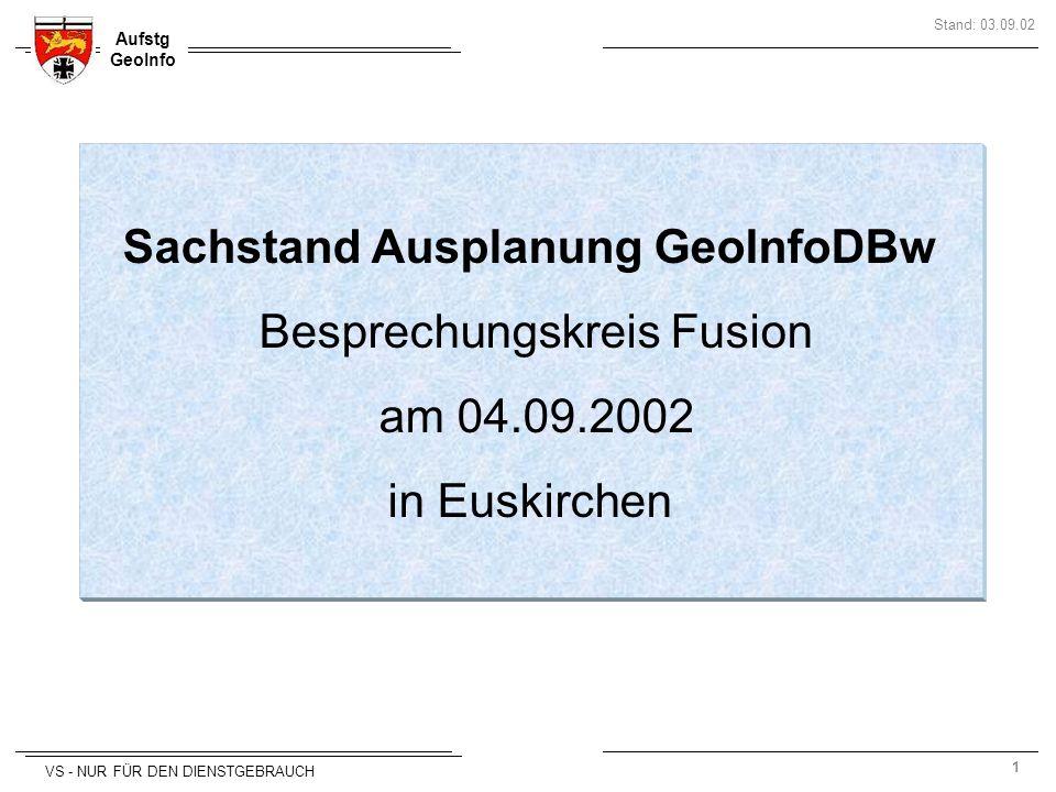 Sachstand Ausplanung GeoInfoDBw Besprechungskreis Fusion am 04.09.2002