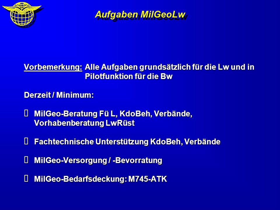 Aufgaben MilGeoLw Vorbemerkung: Alle Aufgaben grundsätzlich für die Lw und in Pilotfunktion für die Bw.