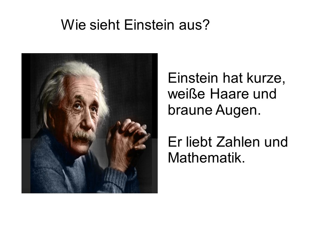 Wie sieht Einstein aus. Einstein hat kurze, weiße Haare und braune Augen.