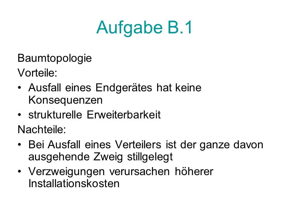 Aufgabe B.1 Baumtopologie Vorteile: