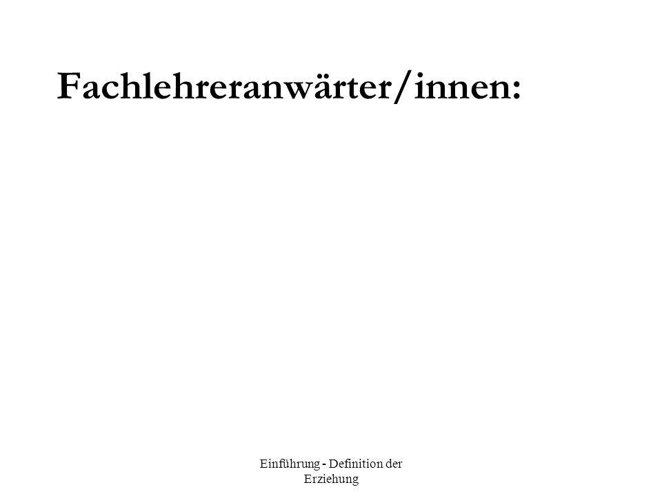 Fachlehreranwärter/innen: