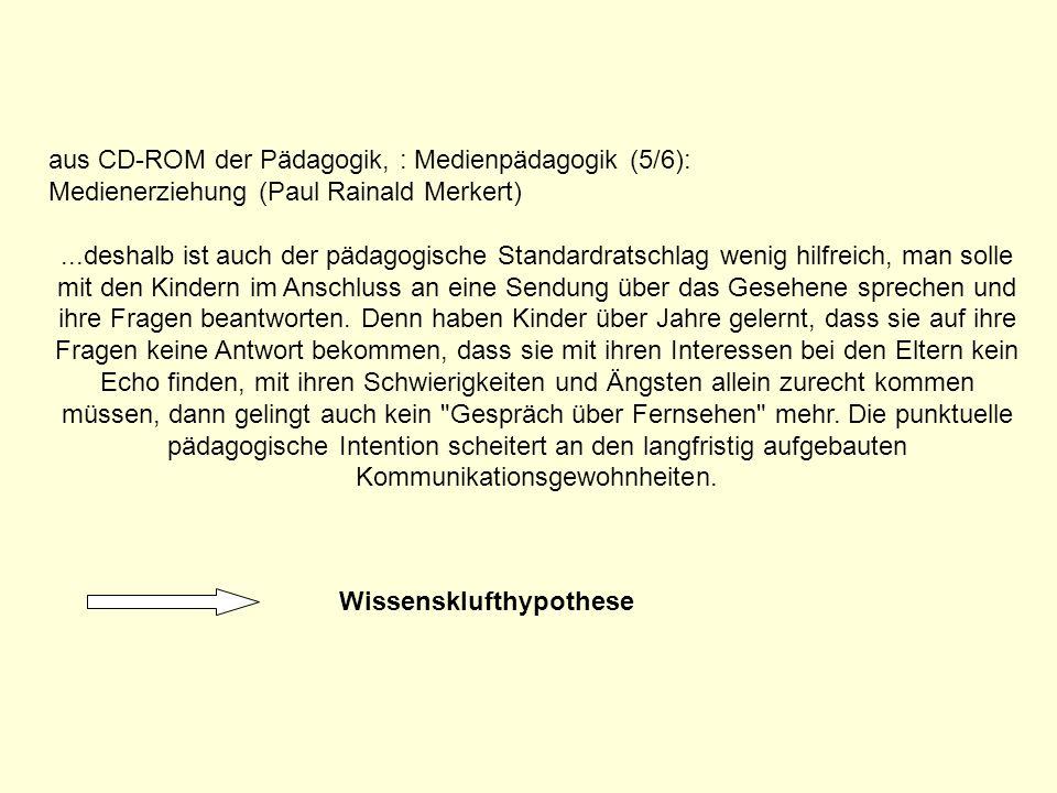 aus CD-ROM der Pädagogik, : Medienpädagogik (5/6): Medienerziehung (Paul Rainald Merkert)