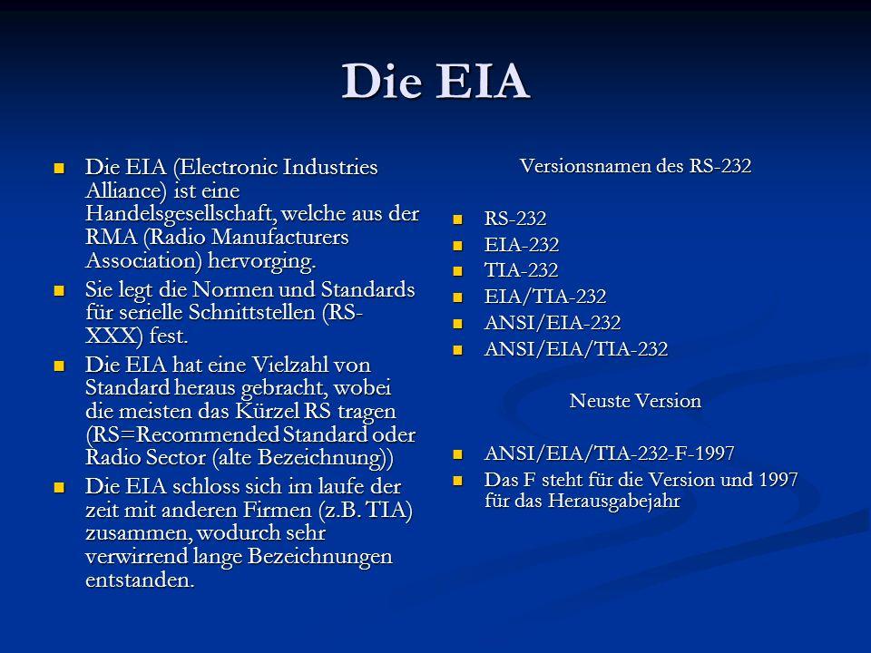 Die EIA Die EIA (Electronic Industries Alliance) ist eine Handelsgesellschaft, welche aus der RMA (Radio Manufacturers Association) hervorging.