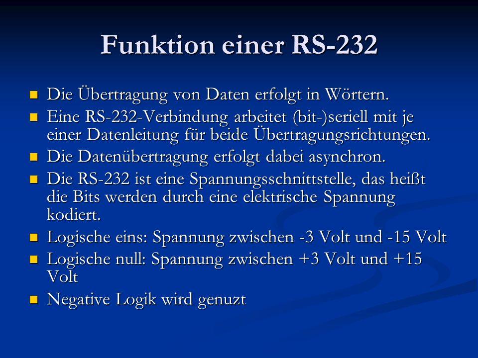 Funktion einer RS-232 Die Übertragung von Daten erfolgt in Wörtern.