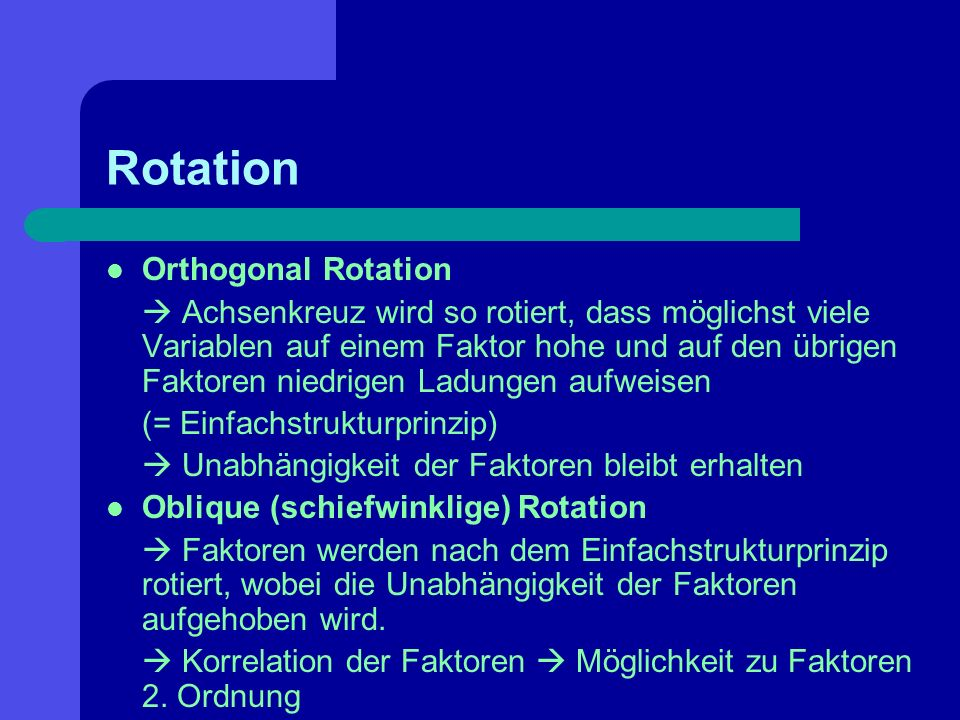 Rotation Orthogonal Rotation