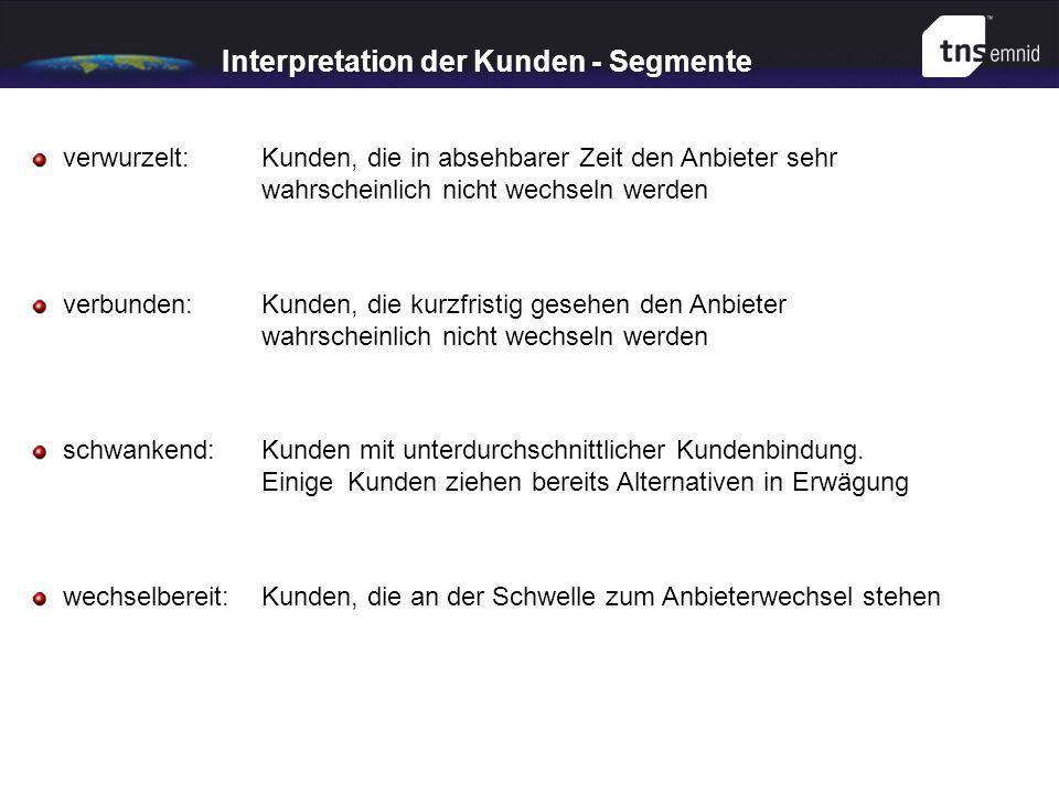 Interpretation der Kunden - Segmente