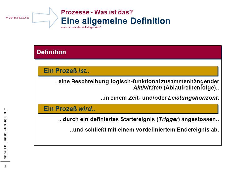 Prozesse - Was ist das Eine allgemeine Definition nach der wir alle viel klüger sind!