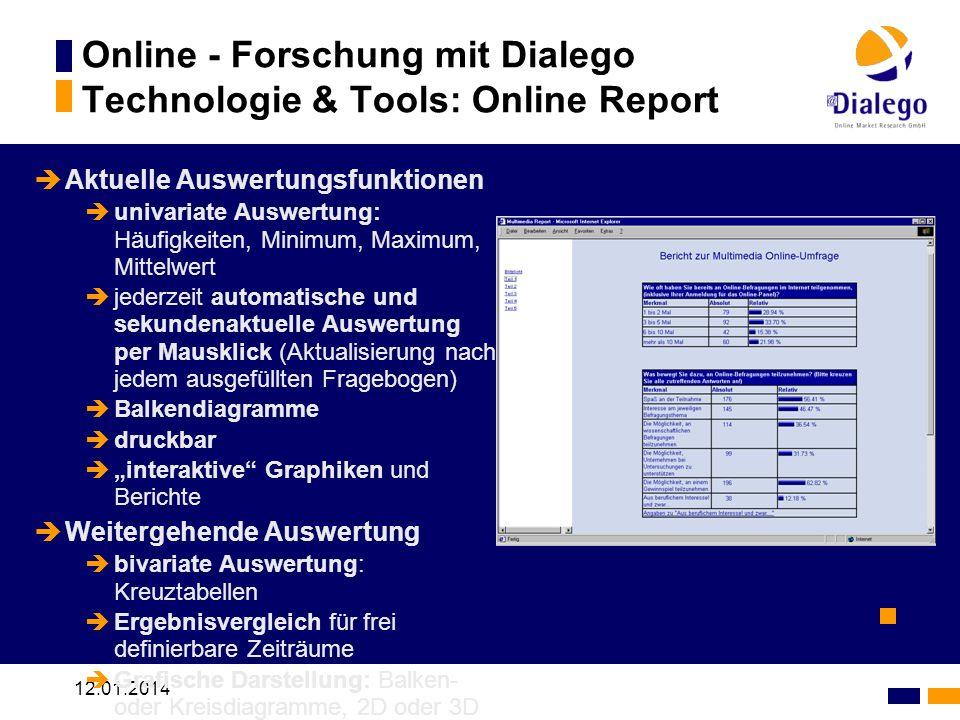 Online - Forschung mit Dialego Technologie & Tools: Online Report