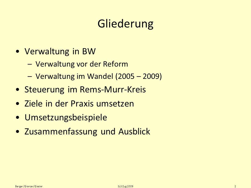 Gliederung Verwaltung in BW Steuerung im Rems-Murr-Kreis
