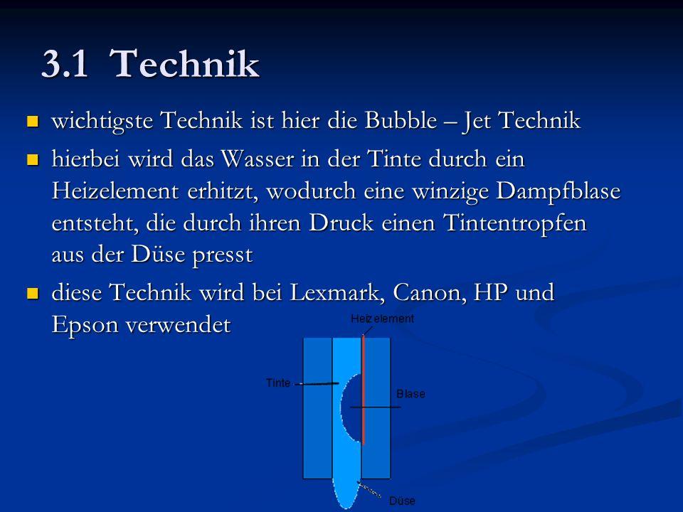 3.1 Technik wichtigste Technik ist hier die Bubble – Jet Technik