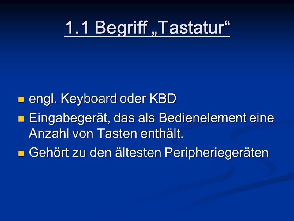 """1.1 Begriff """"Tastatur engl. Keyboard oder KBD"""