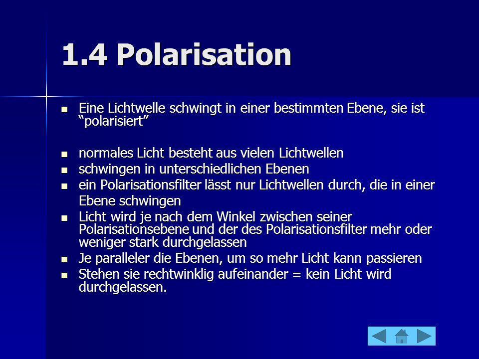 1.4 PolarisationEine Lichtwelle schwingt in einer bestimmten Ebene, sie ist polarisiert normales Licht besteht aus vielen Lichtwellen.