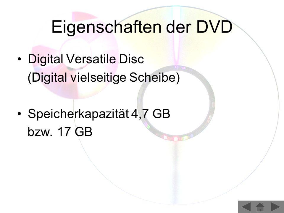 Eigenschaften der DVD Digital Versatile Disc
