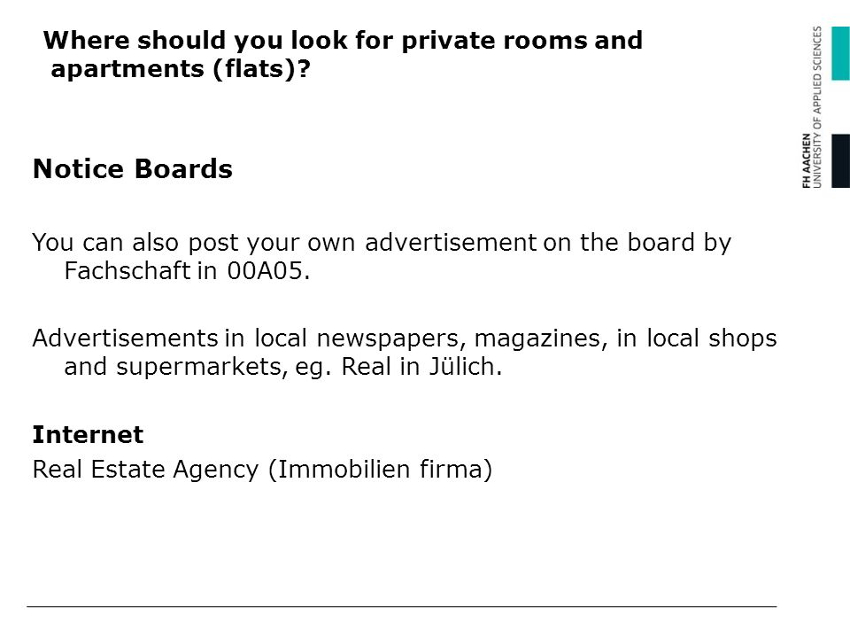 Where should you look for private rooms and apartments (flats)