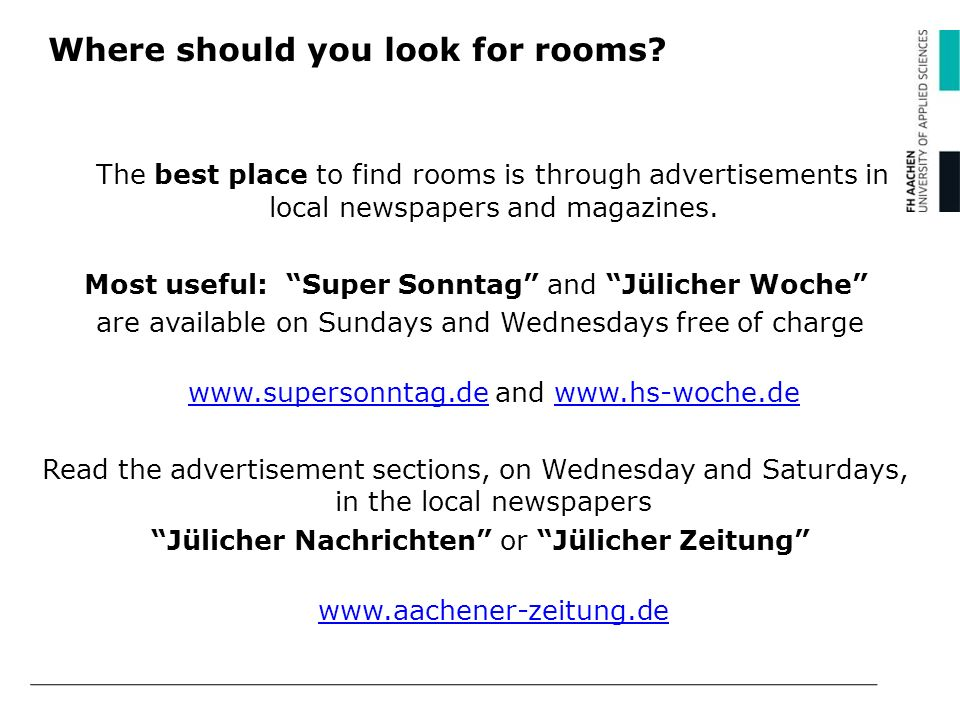Where should you look for rooms