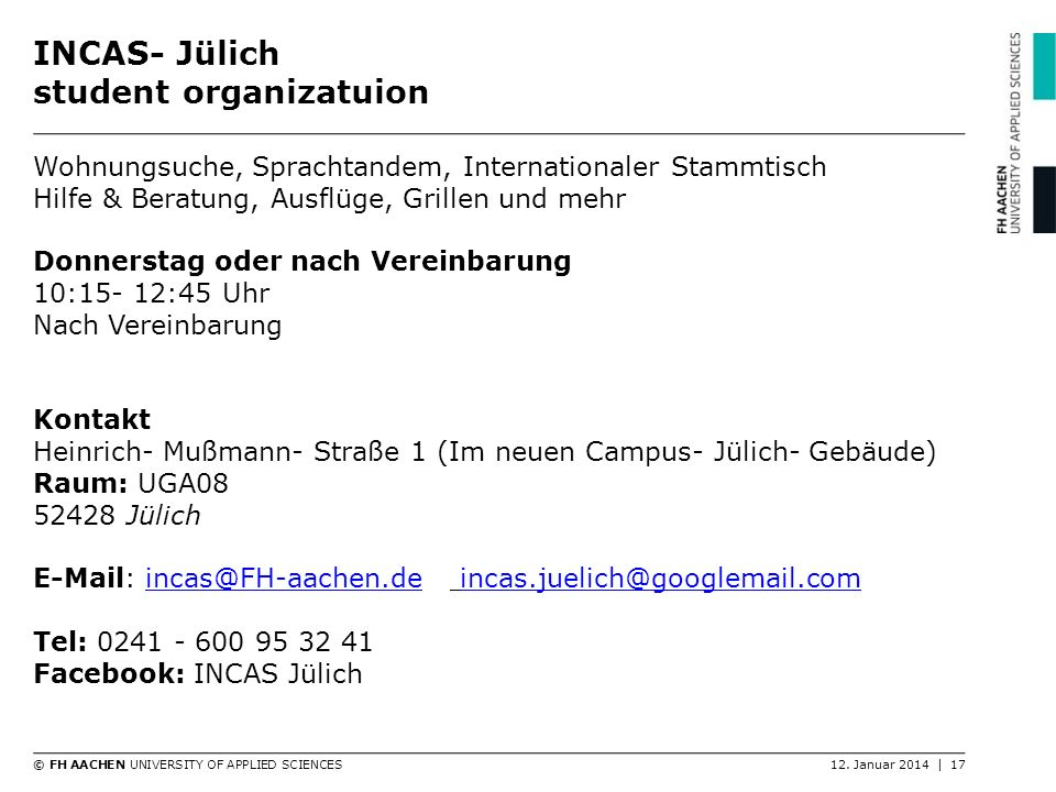 INCAS- Jülich student organizatuion
