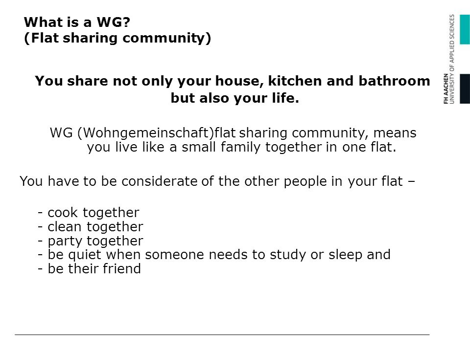 What is a WG (Flat sharing community)
