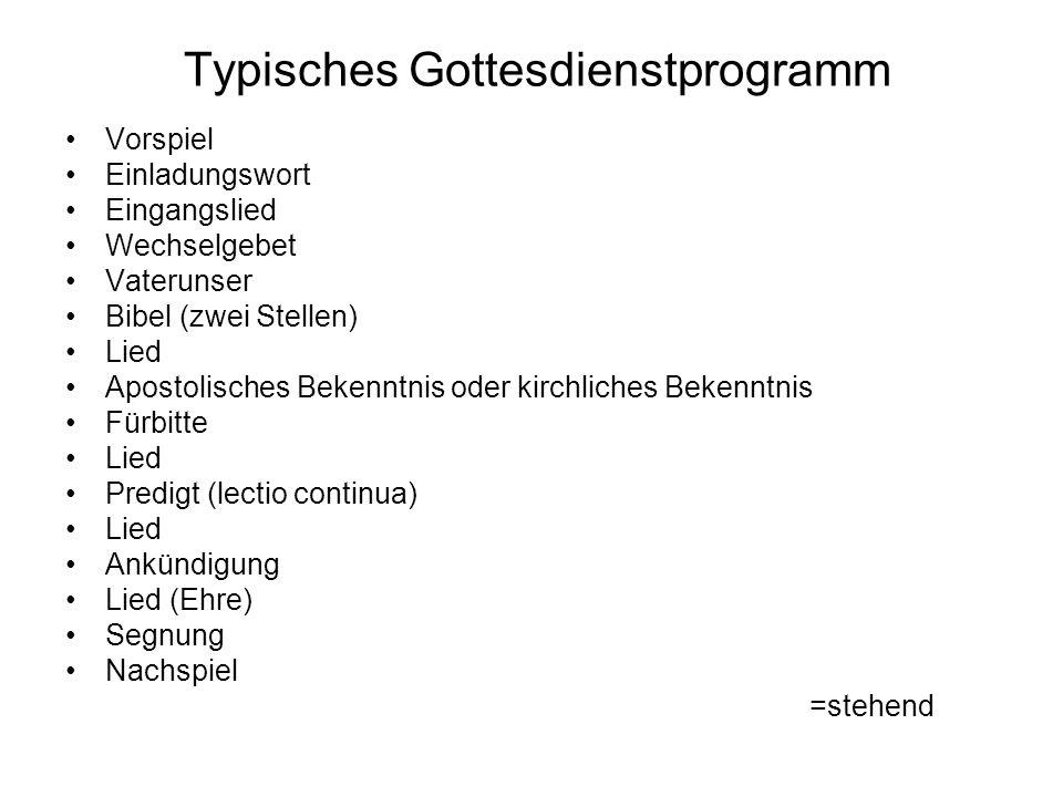 Typisches Gottesdienstprogramm
