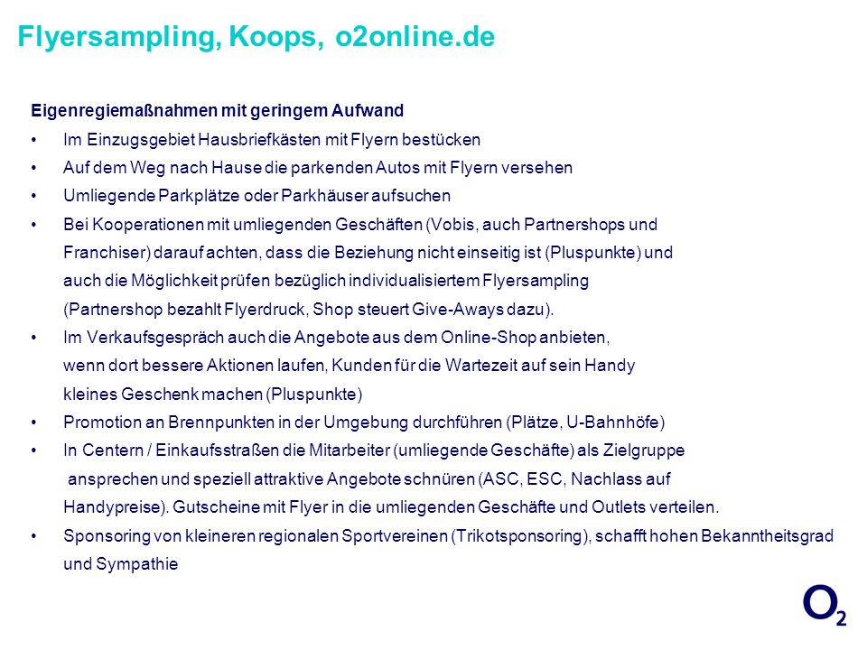 Flyersampling, Koops, o2online.de