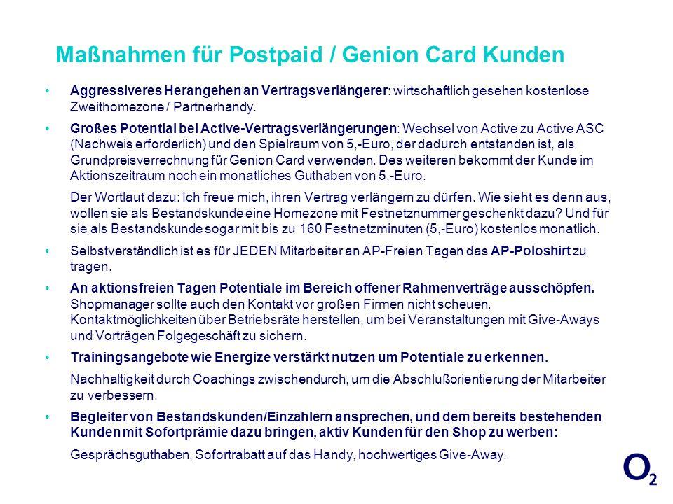 Maßnahmen für Postpaid / Genion Card Kunden