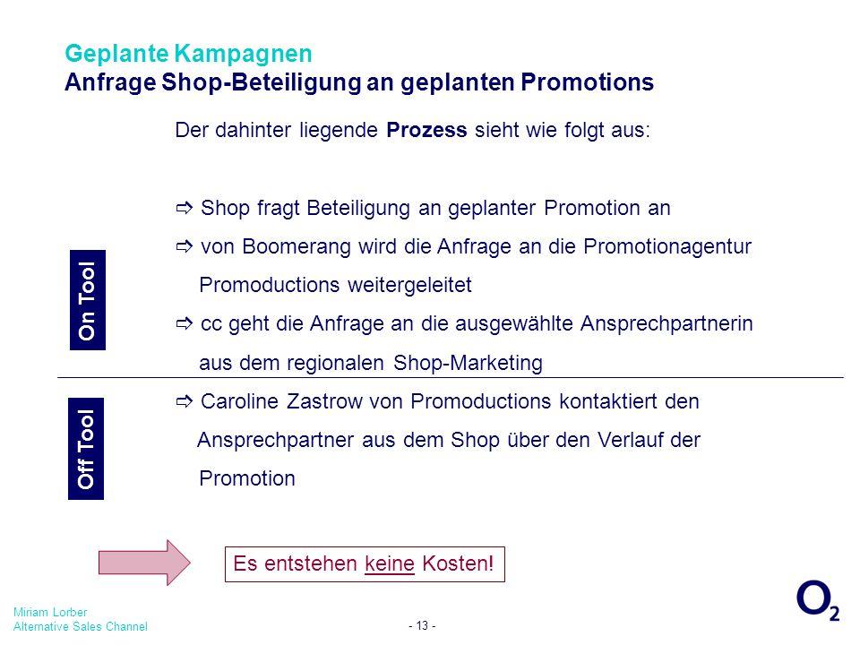 Geplante Kampagnen Anfrage Shop-Beteiligung an geplanten Promotions
