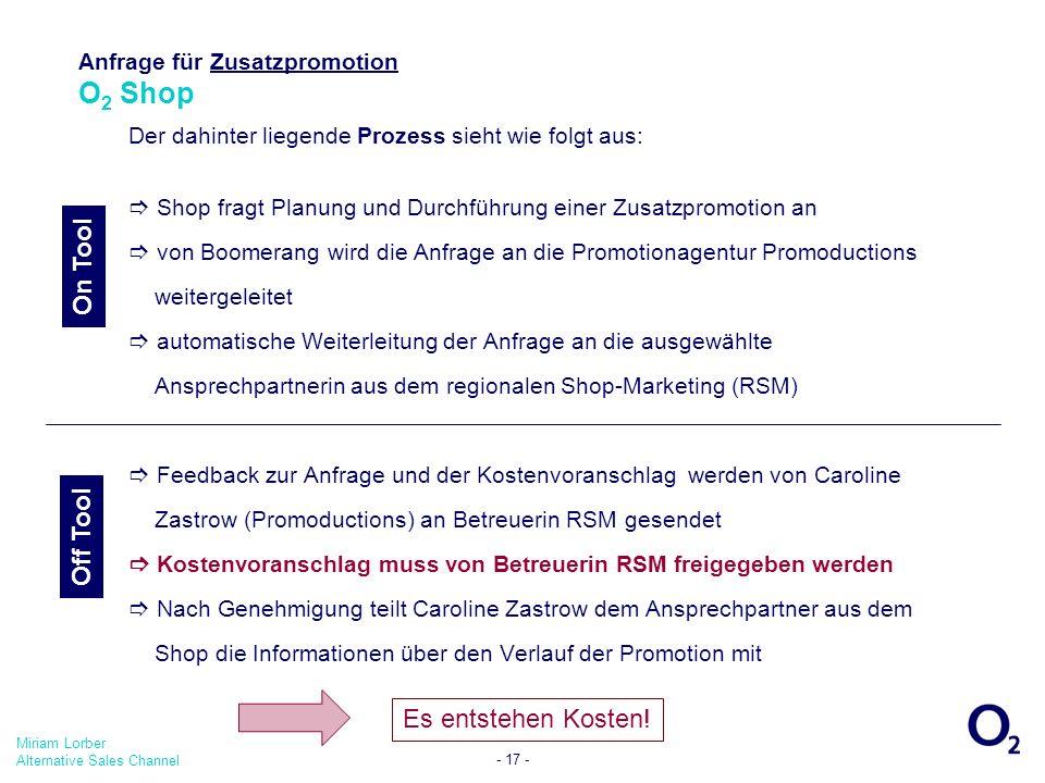 Anfrage für Zusatzpromotion O2 Shop