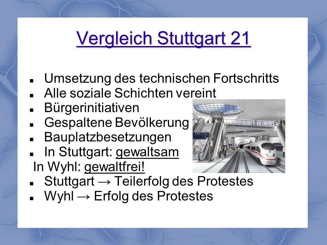 Vergleich Stuttgart 21 Umsetzung des technischen Fortschritts