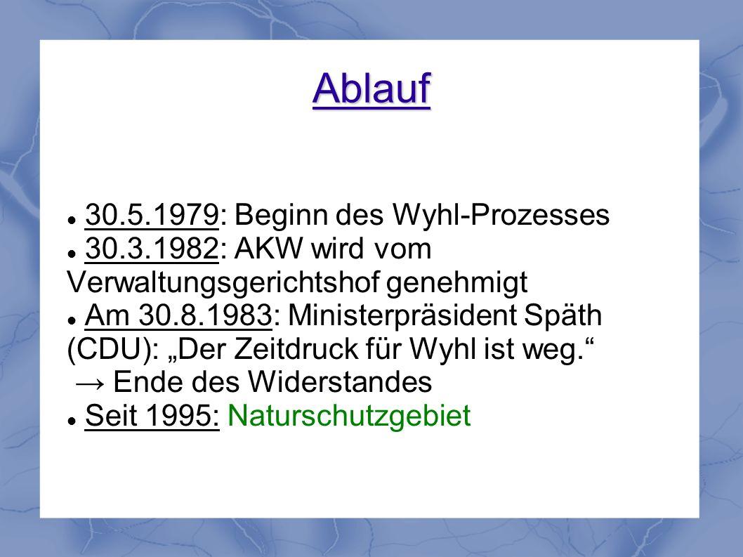 Ablauf 30.5.1979: Beginn des Wyhl-Prozesses