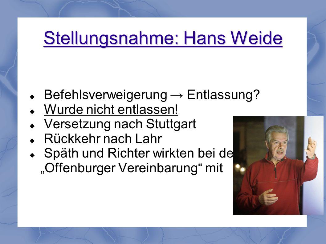 Stellungsnahme: Hans Weide