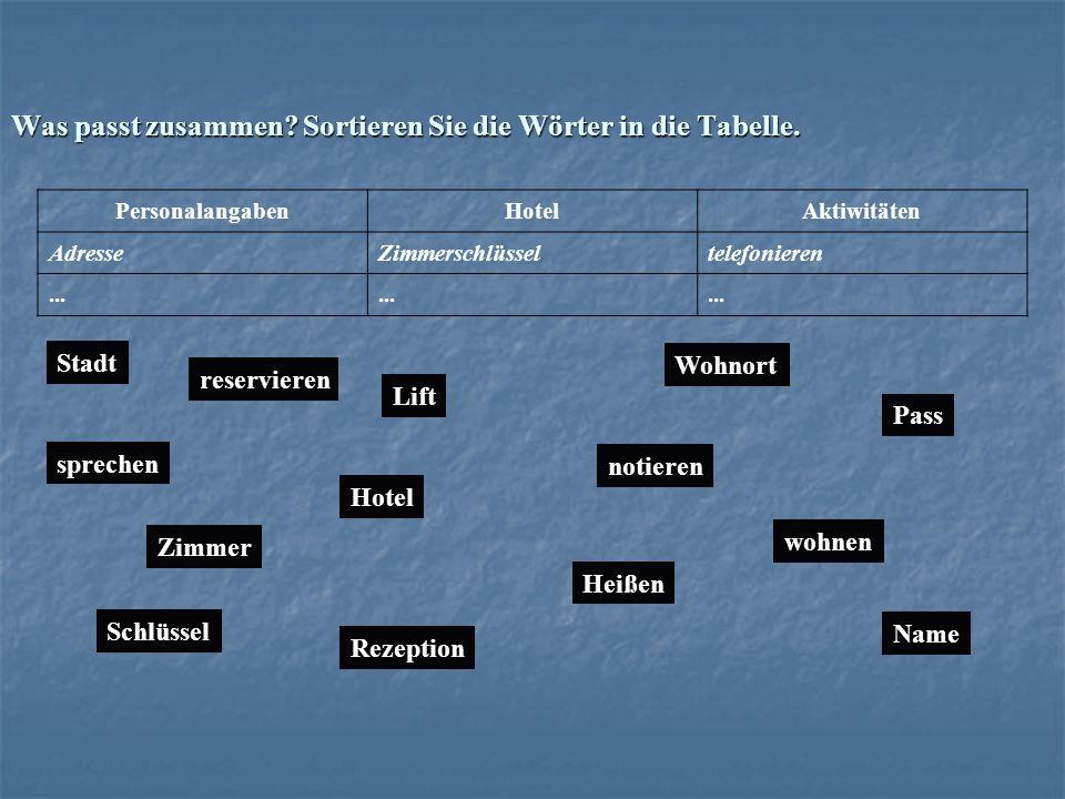 Was passt zusammen Sortieren Sie die Wörter in die Tabelle.